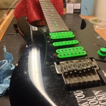 Before fret level, bridge replacement
